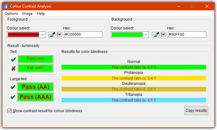 Example of Colour Contrast Analyser screen to see color blindness contrast ratios