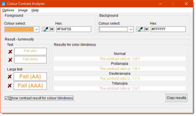 The Colour Contrast Analyser also shows the ratios for people with color blindness.
