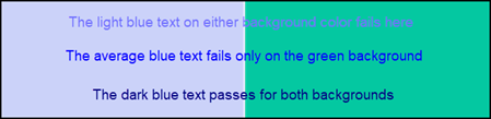 Example of different types of blue text on a light blue background and a green background