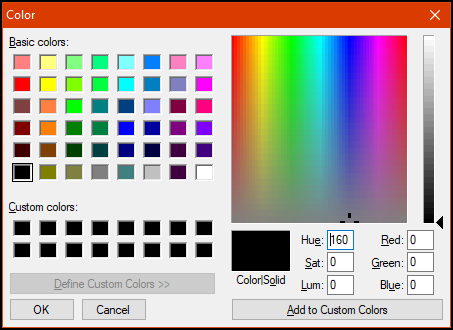 Secondary color dialog with the custom color options displayed.